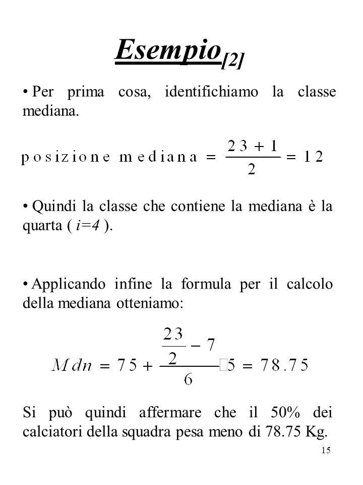 Esempio[2] Per prima cosa, identifichiamo la classe mediana.